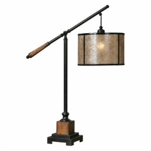 Uttermost 26760-1 Sitka Desktop Lamp - 12W in. Heavily Distressed Rustic Mahogany and Light Rottenstone