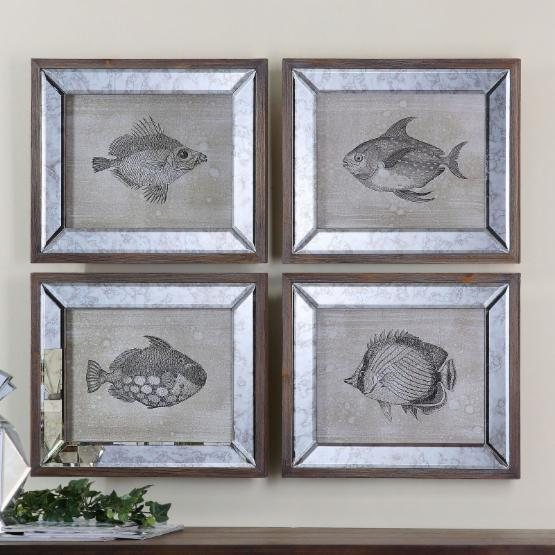 Uttermost Mirrored Fish Framed Art - Set of 4 - 19W x 16H in.ea.