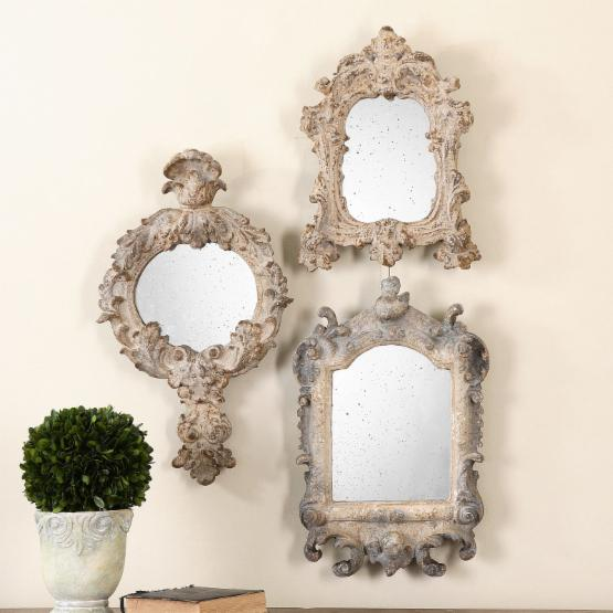 Uttermost Rustic Artifacts Reflection Mirrors - 13W x 22H in. - Set of 3