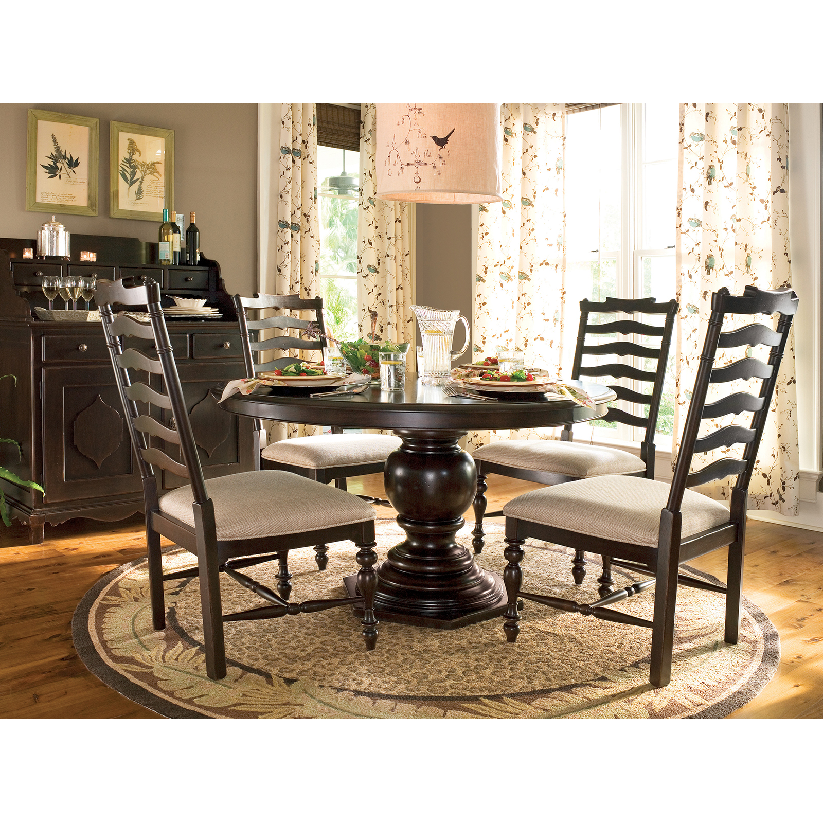 Paula Deen Home 5 Piece Round Pedestal Dining Table Set   Tobacco   With  Mike Chairs