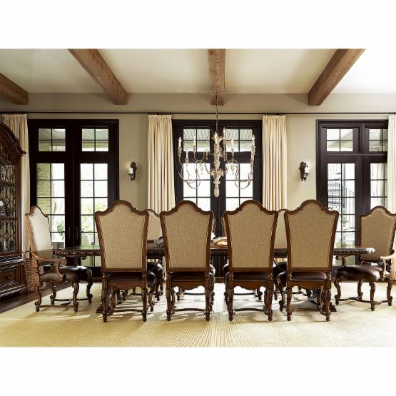 Universal Furniture Escalera Valencia 11 piece Dining Set with Leather Chairs