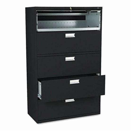 HON 600 Series 42 Inch Four Drawer Lateral File Plus One Roll Out Shelf