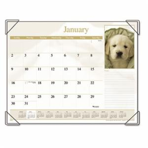AT-A-GLANCE Puppies Monthly Desk Pad Calendar, 22 x 17, 2017