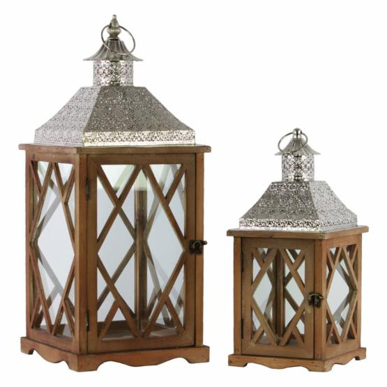 Urban Trends Rectangular Diamond Design Lantern with Tapered Silver Pierced Metal Top - Set of 2