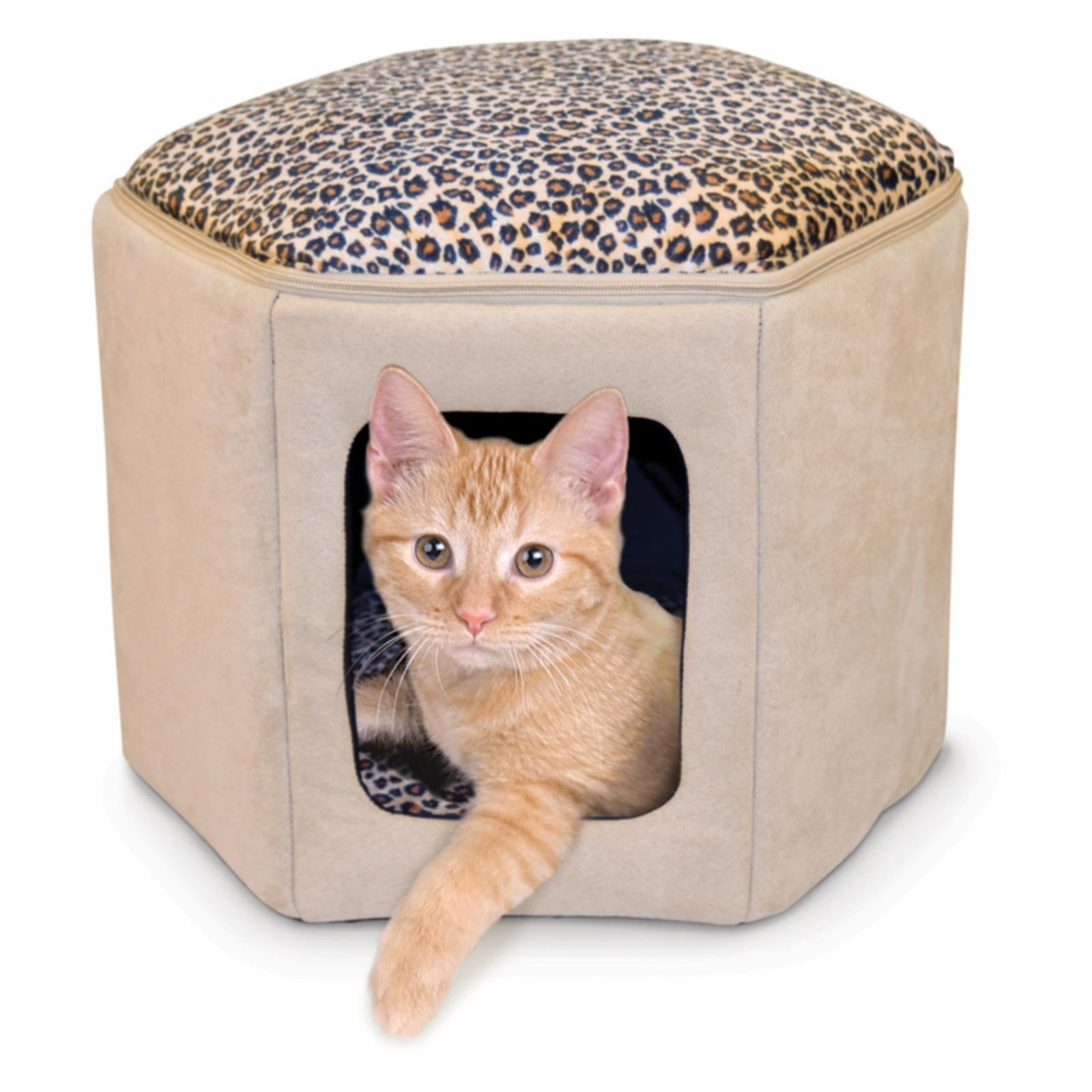 K&H Manufacturing Thermo-Kitty Sleephouse - Tan / Leopard...