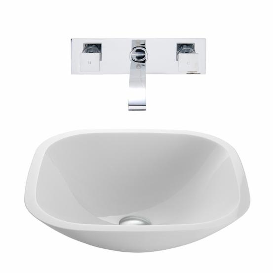 Vigo VGT221 Square Shaped White Phoenix Stone Glass Vessel Sink with Wall Mount Faucet - Chrome