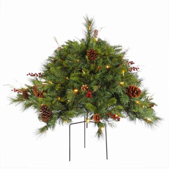 Vickerman 24 in. Cibola Mixed Berry Bush with Warm White Lights
