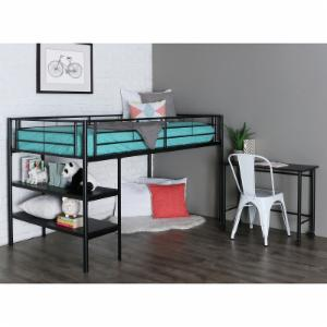 Black Twin Loft Bed with Desk and Shelves