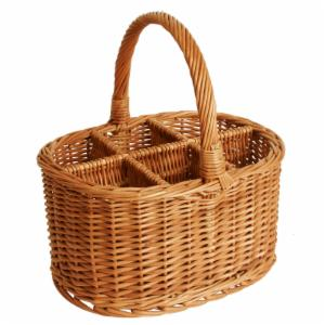 Wald Import Willow Wine Basket - Brown