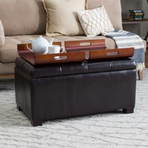 Livingston Storage Ottoman with Tray Tables