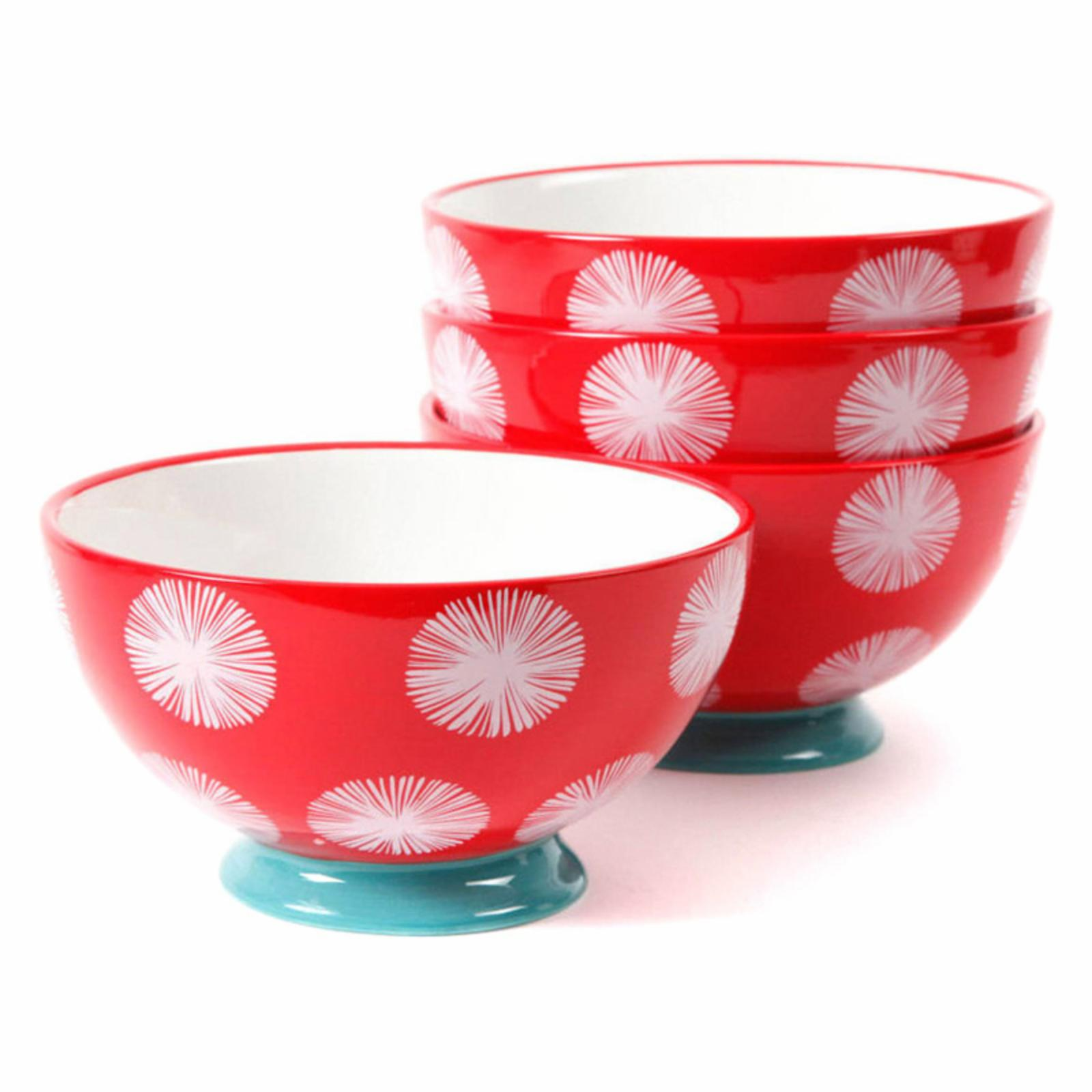 The Pioneer Woman Flea Market Red Dot Tea 6 in. Footed Bowls - Set of 4 - 96B944E8B357453FBE198153B123AD45