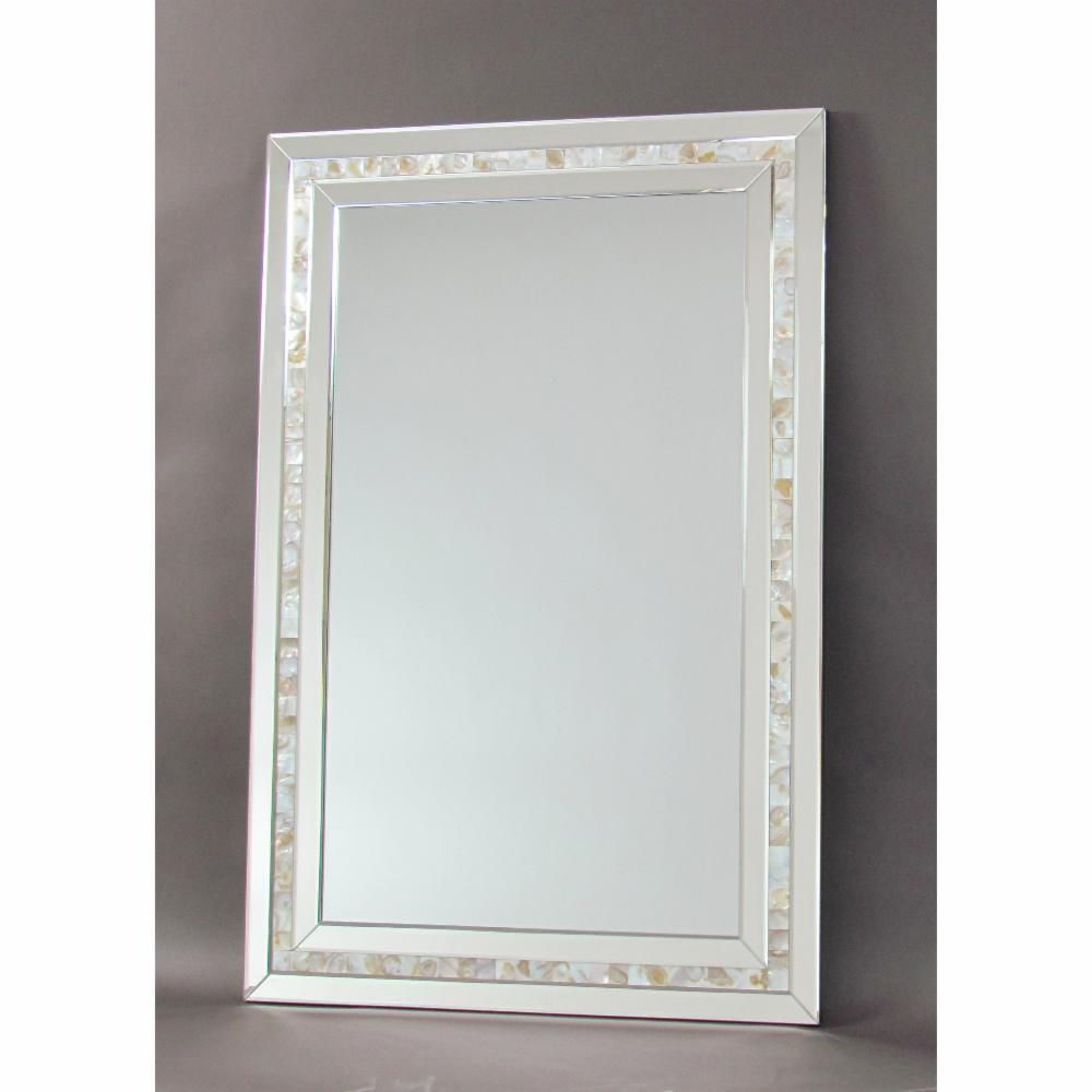 Beveled Wall Mirror wayborn mother of pearl beveled wall mirror silver | ebay