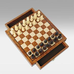 Magnetic Walnut Travel Chess Set with Drawers