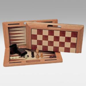 Three-in-One Combination Camphor Wood Game Set
