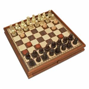 WE Games Medieval Polystone Chess and Checkers Set