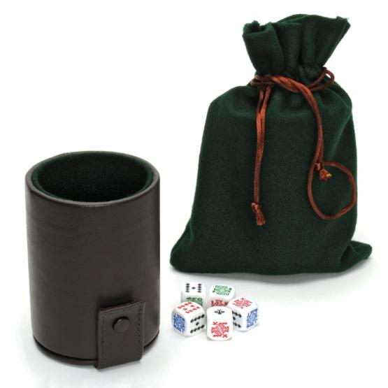 WE Games Luxury Leather Dice Cup with Poker Dice and Storage