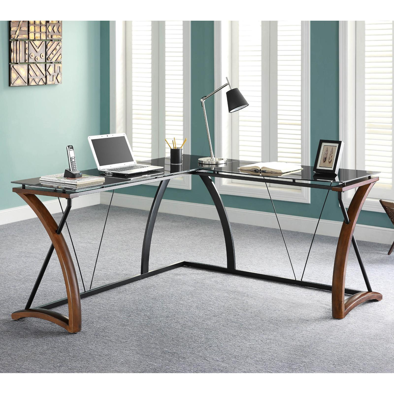 WHALEN Newport Wood and Glass L-Desk - JCS110605-D