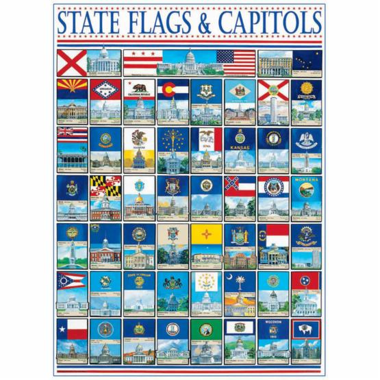 White Mountain State Flags & Capitals 1000 Piece Jigsaw Puzzle