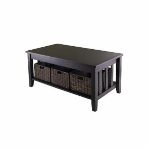Winsome Morris Coffee Table with 3 Foldable Baskets
