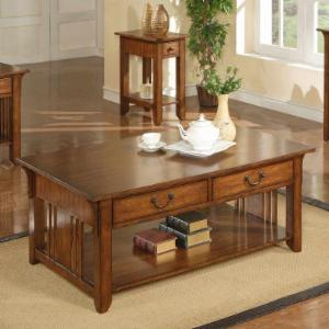 Zahara 2 Drawer Coffee Table - Mission Oak