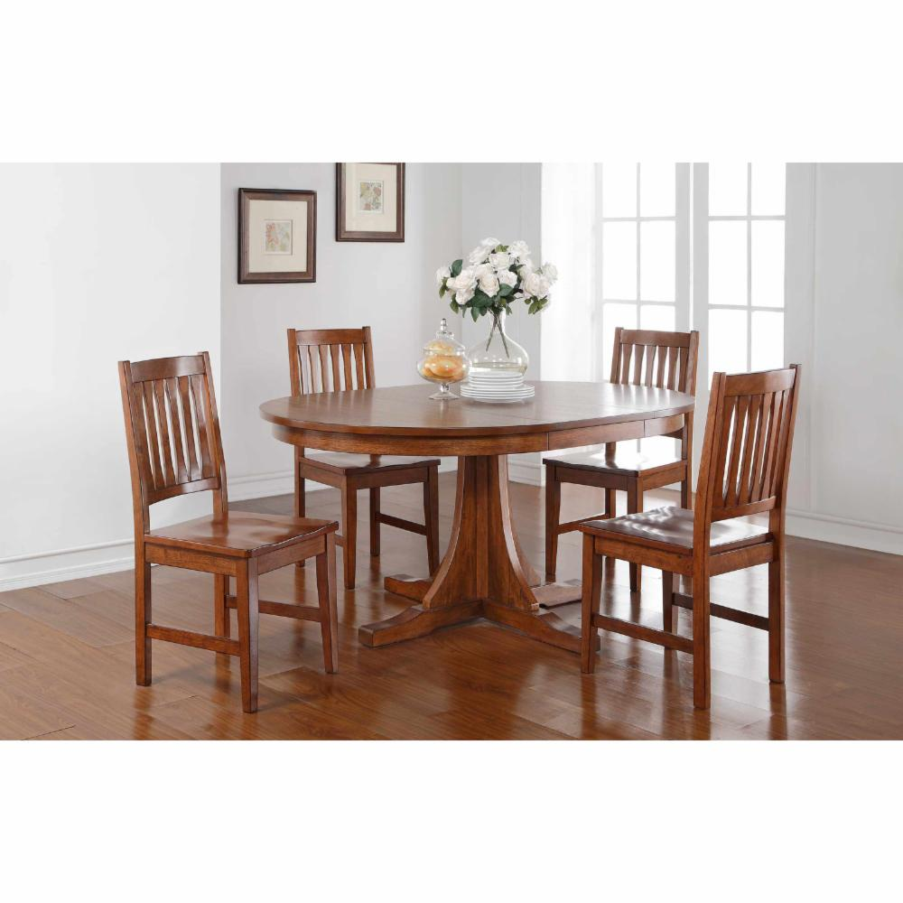Winners Only Round Pedestal Dining Table With 18 In Butterfly Leaf