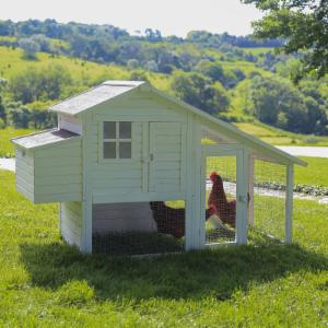 Boomer & George Deluxe 4 Chicken Coop With Run - White Wash