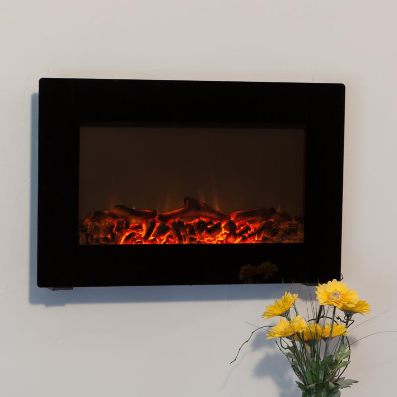 Electric Fireplace: Fire Sense Black Wall Mounted Electric Fireplace - 60757