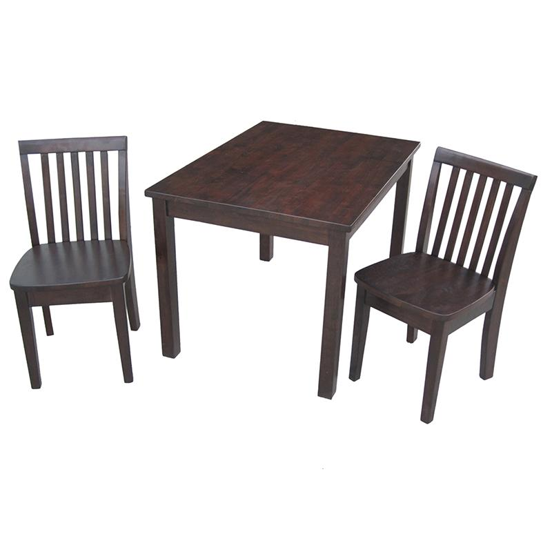 International Concepts Mission Juvenile Table and Chairs Set - Mocha - K15-2532-263-2