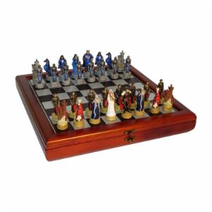 King Arthur's Court Painted Resin Chess Set with Cherry Chest