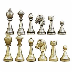 Metal and Bronze Staunton Chess Pieces - 3 Inch King