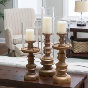 Murray Hill Oversized Wood Candleholders - Set of 3