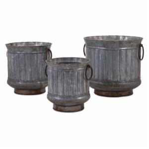 IMAX Griffin Galvanized Planters with Brass Edging - Set of 3