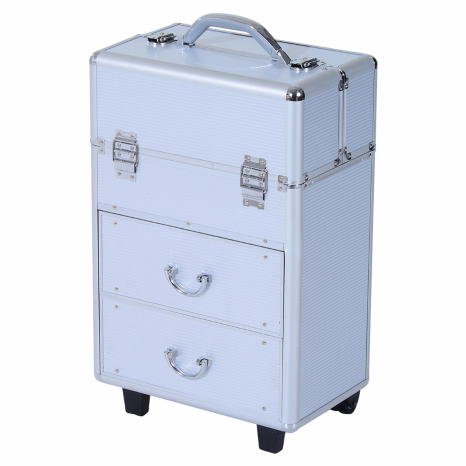 Soozier 4 Tier Lockable Cosmetic Makeup Train Case with E...
