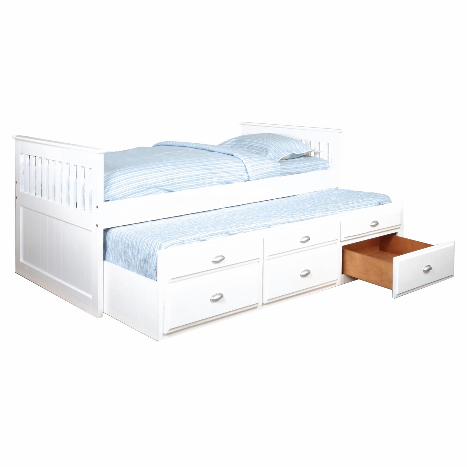 Bernards Furniture Twin Captains Bed with Trundle White -...