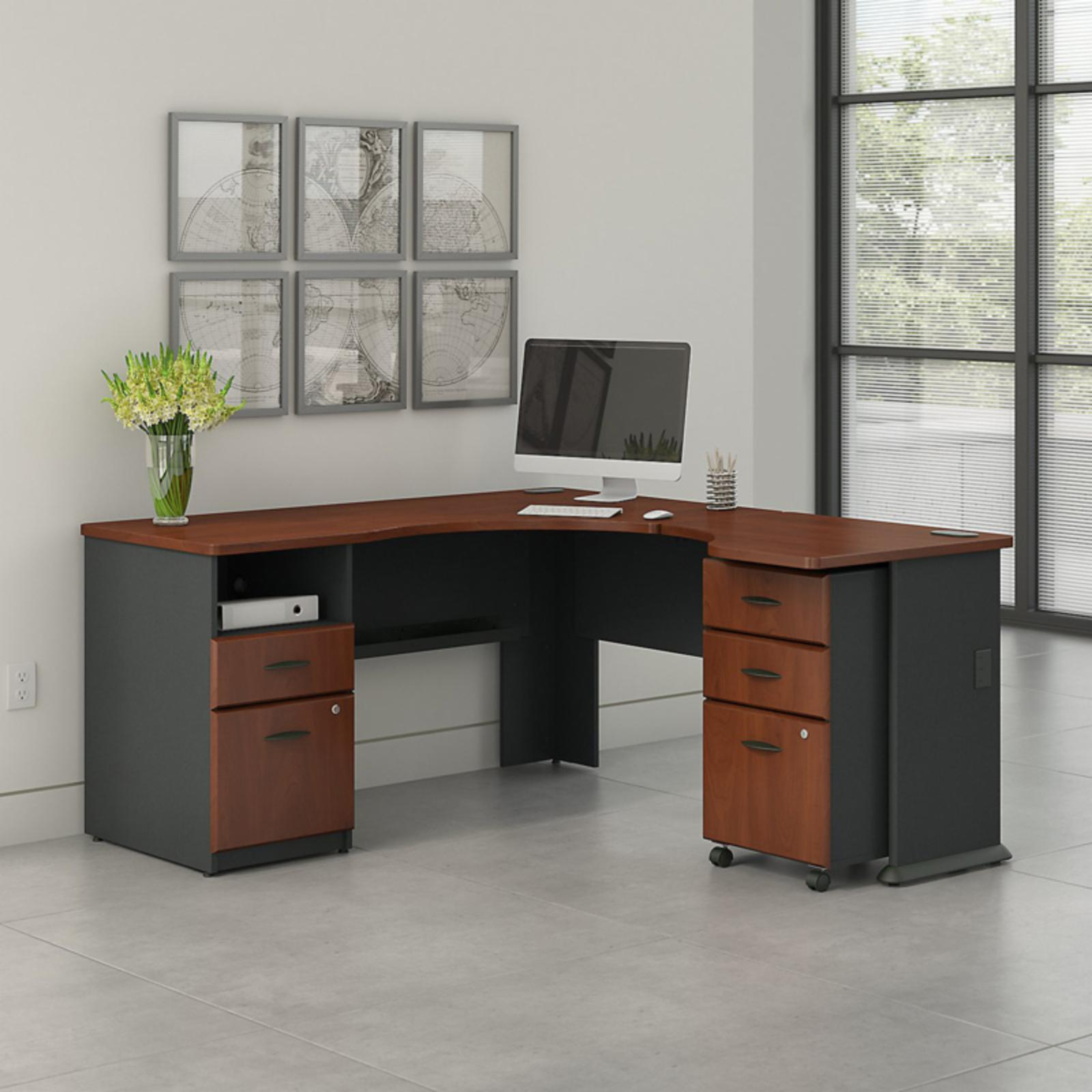 Office Connect Access L Shaped Corner Desk with Pedestal and Mobile Pedestal - ACS002HC