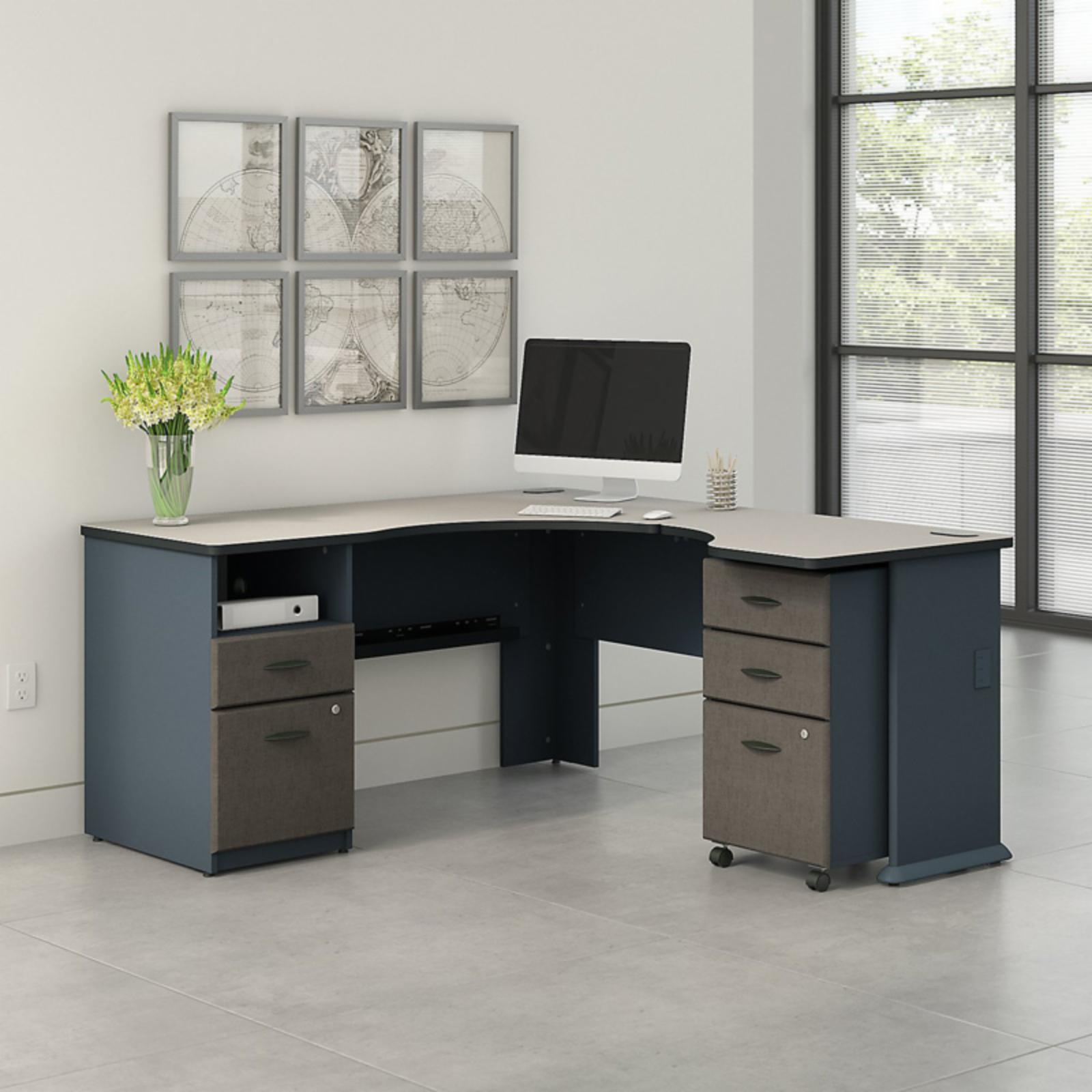 Office Connect Access L Shaped Corner Desk with Pedestal and Mobile Pedestal - ACS002SL