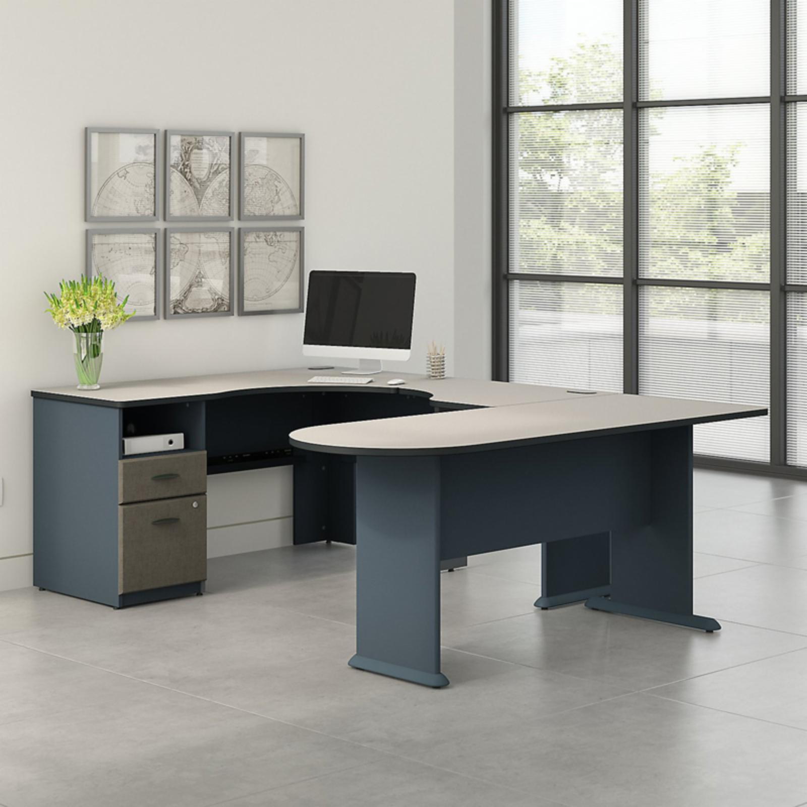 Office Connect Access U Shaped Corner Desk with Pedestal - ACS003SL