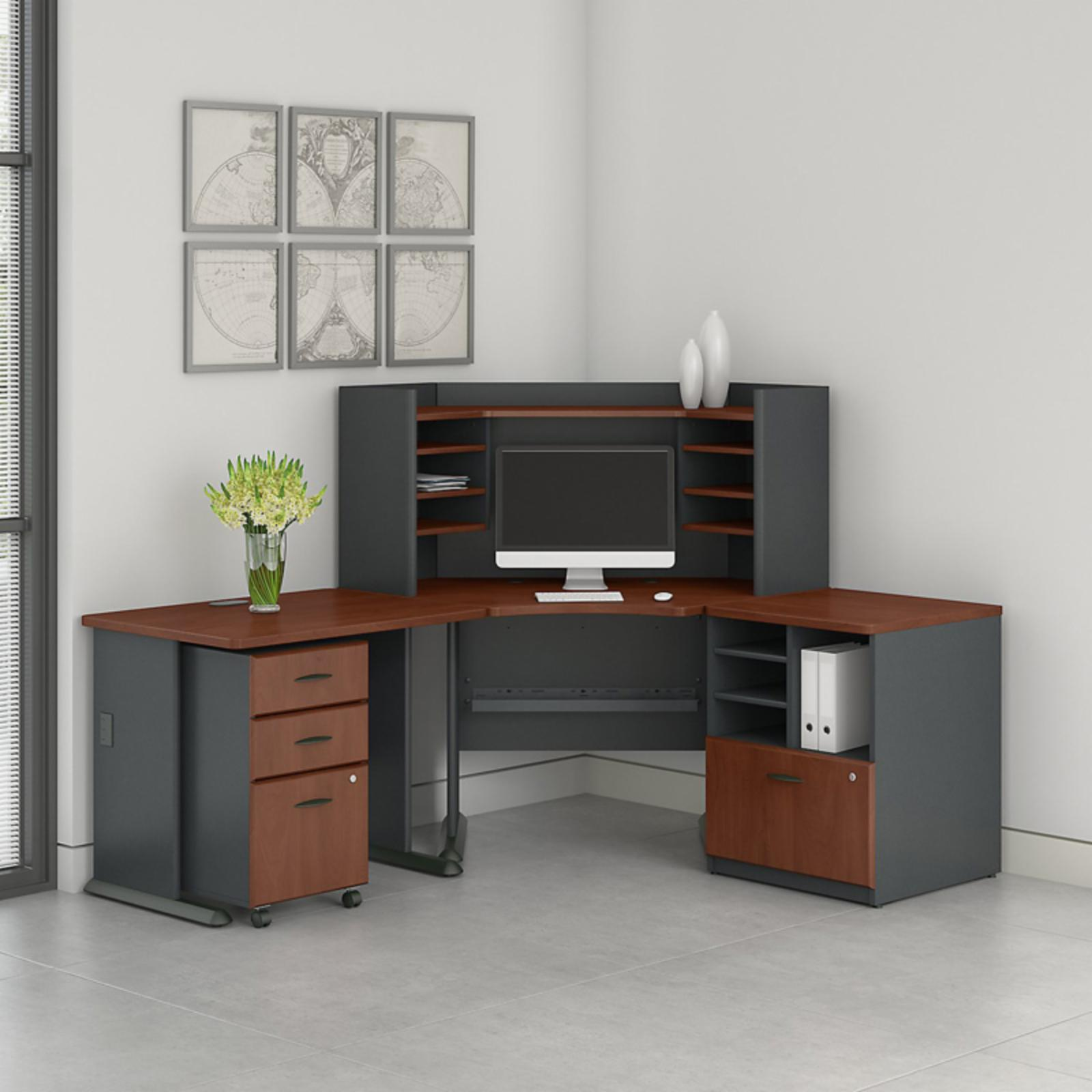 Office Connect Access Corner Desk with Hutch and Mobile Pedestal - ACS004HC