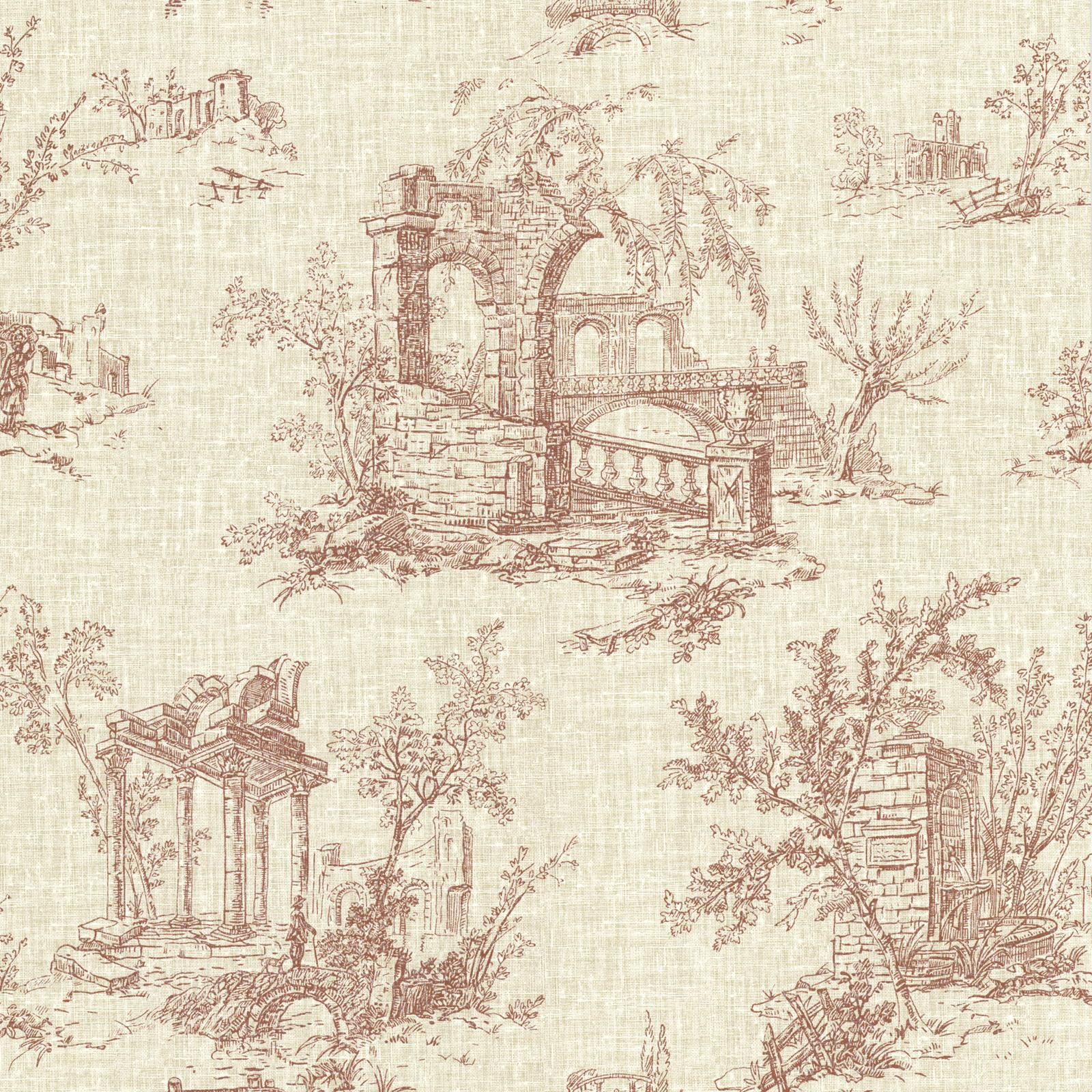 Beacon House Antiquity Linen Toile Wallpaper Brick