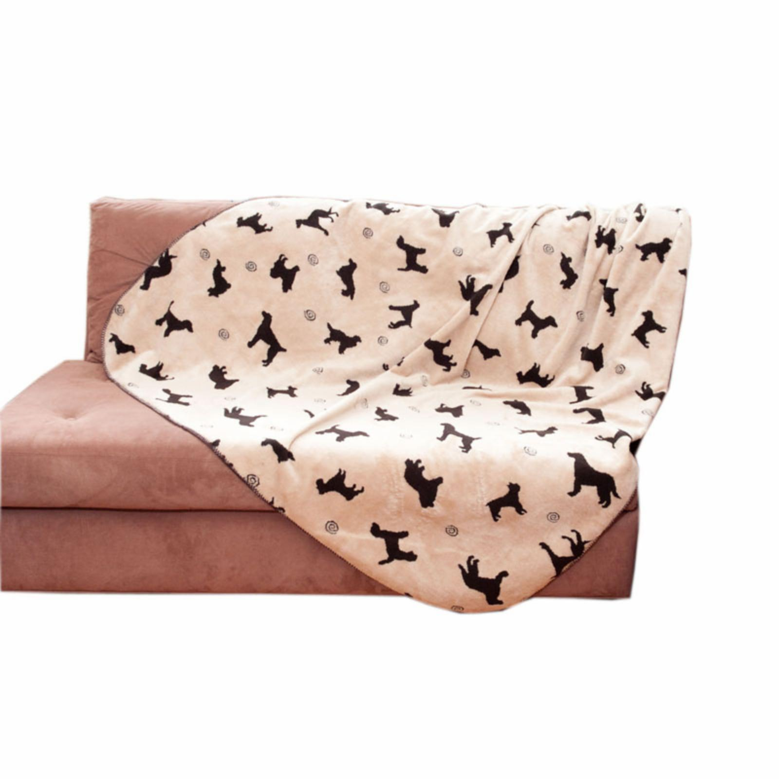 Carolina Company Small Plush Embossed Tossed Dog Throw - Beige, Multi