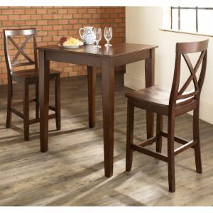 Crosley 3-Piece Pub Dining Set with Tapered Leg and X-Back Stools