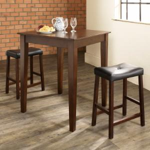 Crosley 3-Piece Pub Dining Set with Tapered Leg and Upholstered Saddle Stools