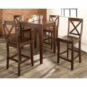 Crosley 5-Piece Pub Dining Set with Tapered Leg and X-Back Stools