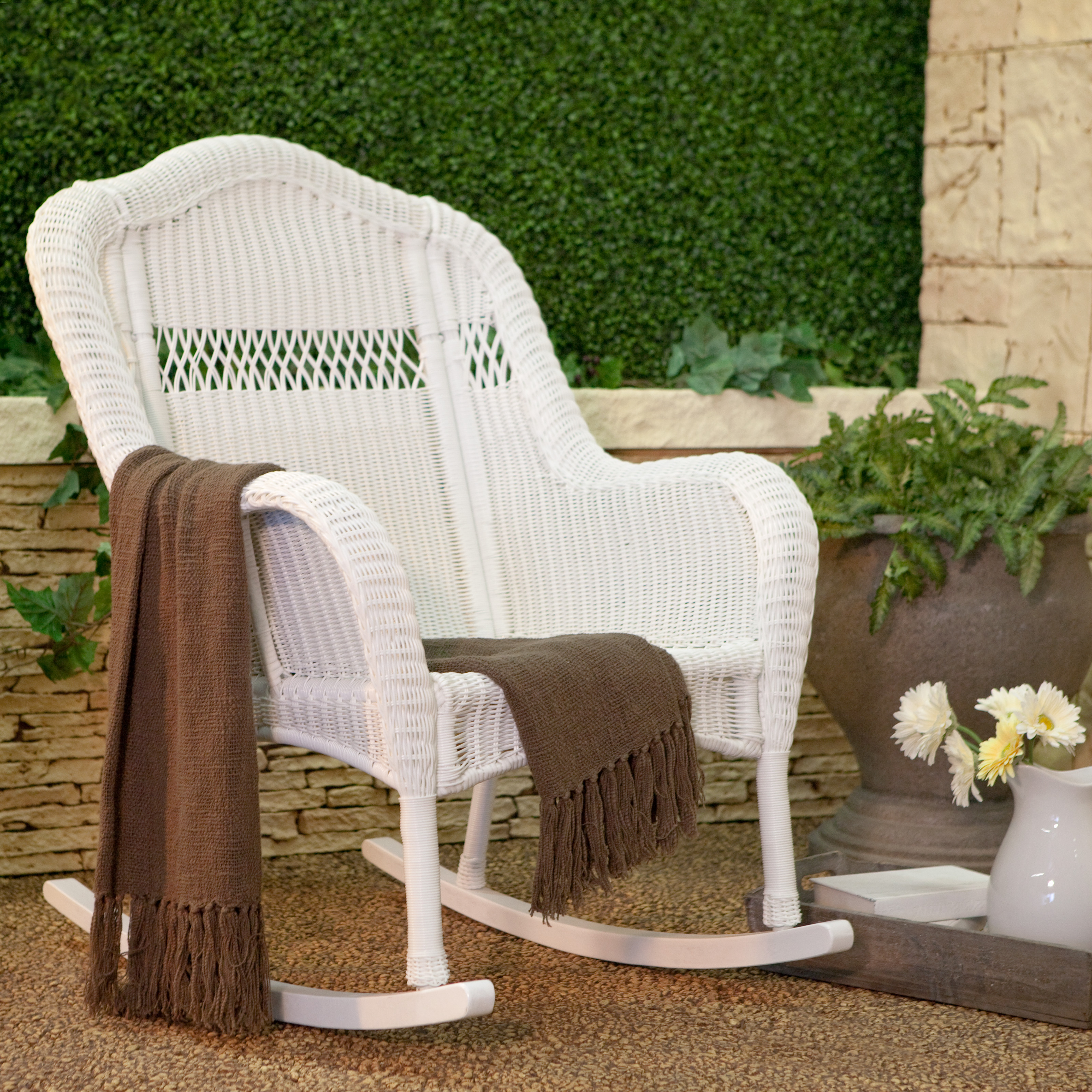 White Resin Wicker Outdoor Rocking Chair Rocker Patio Porch Deck Backyard  Pool