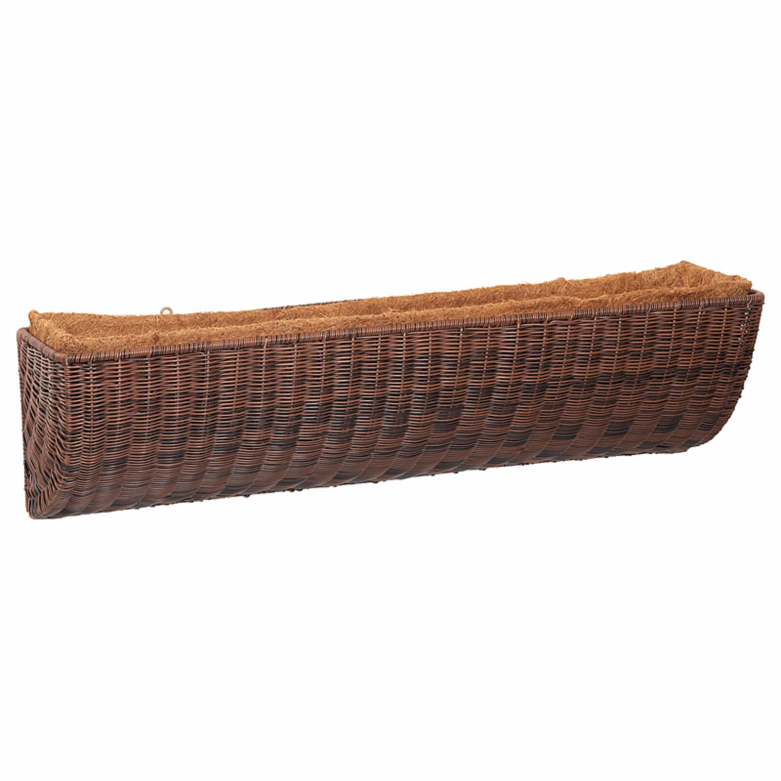 DMC Resin Wicker Wall and Railing Planters Antique Brown
