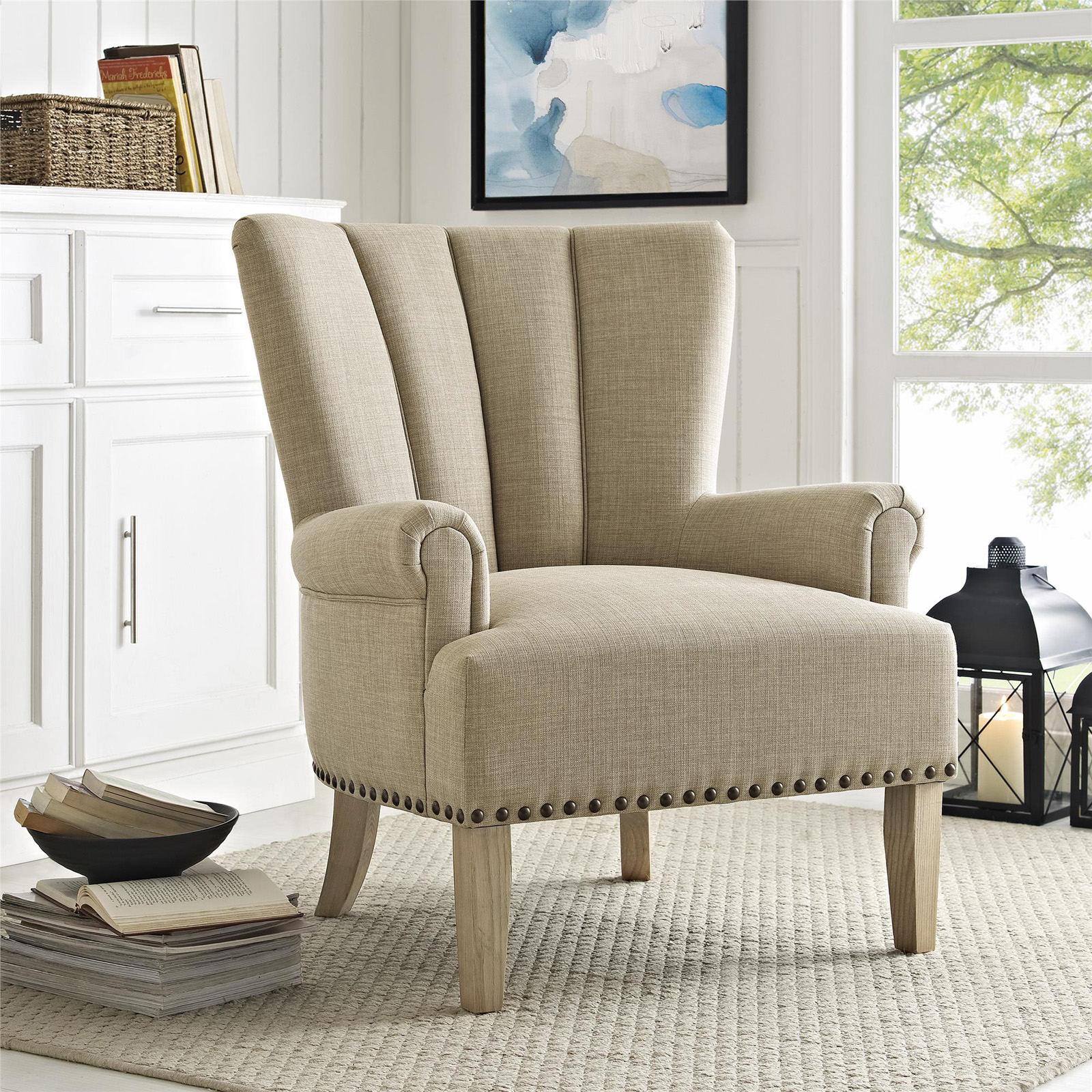 Impressive Beige Accent Chair Set