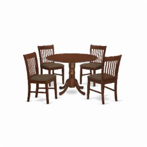 East West Furniture Dublin 5 Piece Drop Leaf Dining Table Set with Norfolk Microfiber Seat Chairs