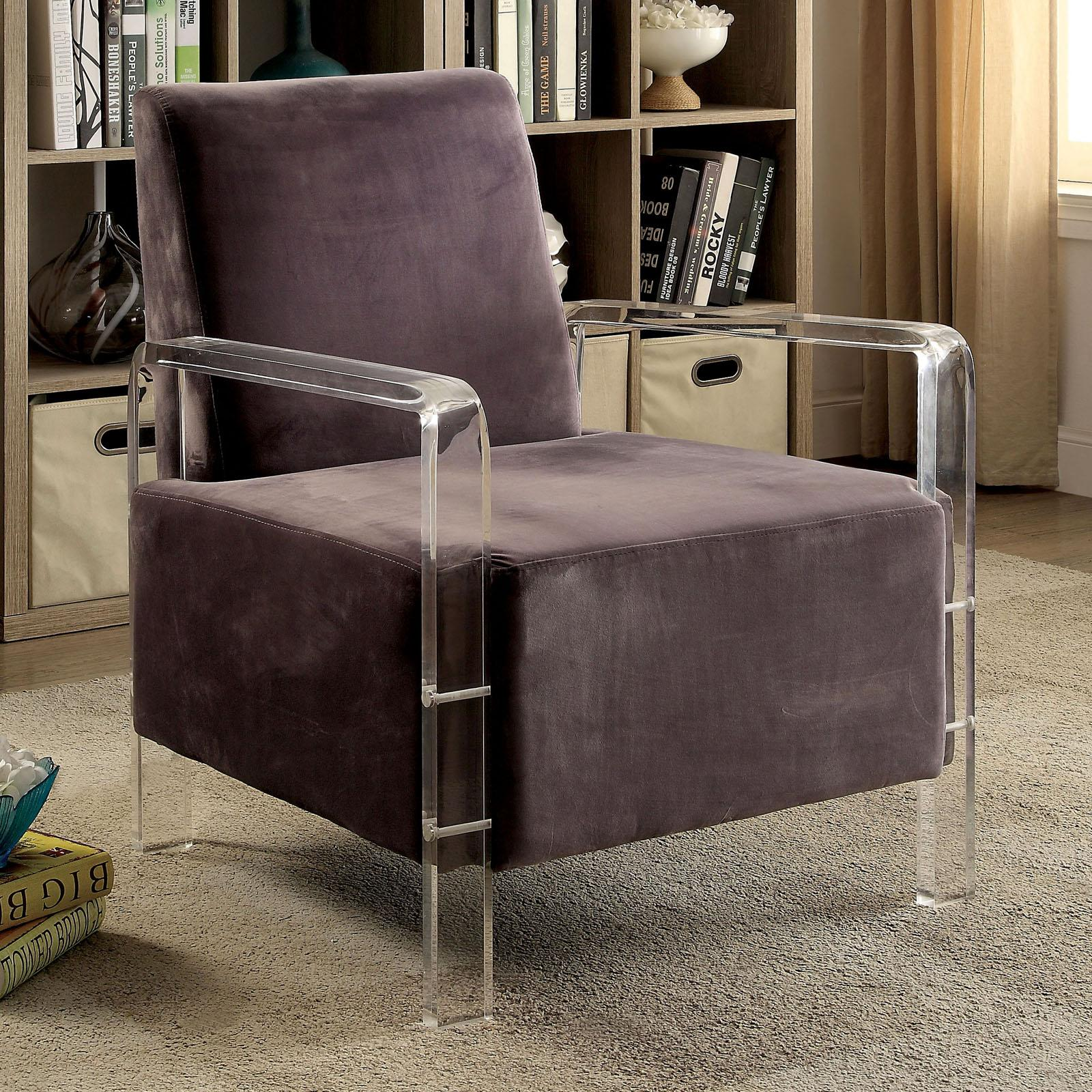 Furniture of America Sariano Contemporary Style Flannelette Fabric Accent Chair Gray - IDF-AC6187GY