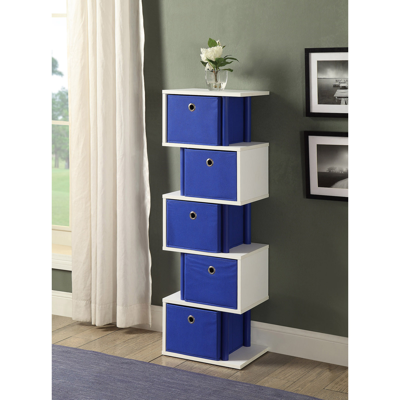 ... Picture 2 of 2  sc 1 st  eBay & 4d Concepts Zig Zag 5 Drawer Storage Tower in Ocean Blue | eBay