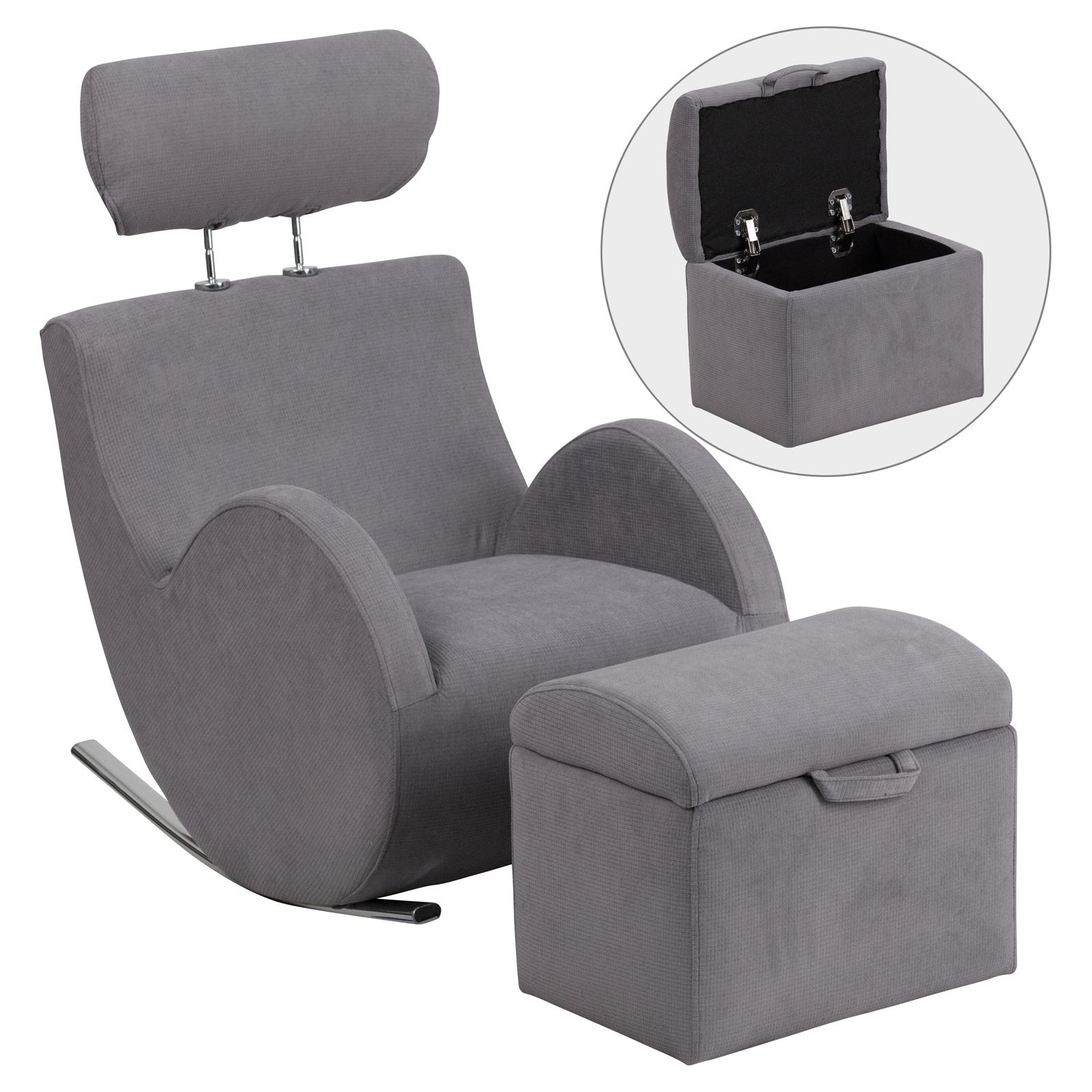 Flash Furniture HERCULES Series Fabric Rocking Chair with Storage Ottoman - LD-2025-GY-GG